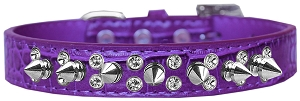 Double Crystal and Spike Croc Dog Collar Purple Size 14